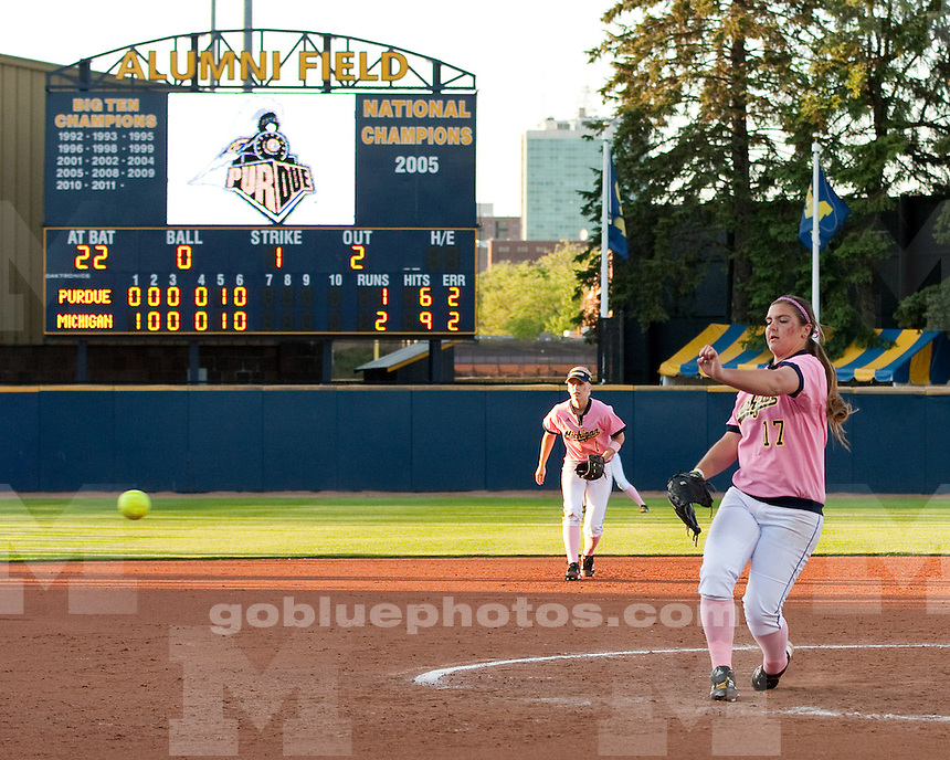 The University of Michigan softball team beat Purdue, 2-1, in the Pink Game at the Wilpon Softball Complex in Ann Arbor, Mich., on May 11, 2012.
