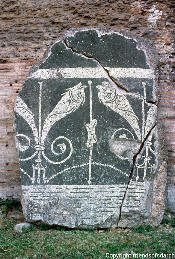 Italy: Rome--Baths of Caracalla, Mosaic fragment. Photo '83.