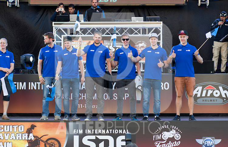 Estonia enduro team during the presentation of the FIM international six days of enduro 2016 in Pamplona, Spain. October 09, 2016. (ALTERPHOTOS/Rodrigo Jimenez)