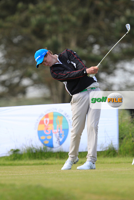 David Brady (Co. Sligo) on the 1st tee during Round 2 of the Irish Amateur Close Championship at Seapoint Golf Club on Sunday 8th June 2014.<br /> Picture:  Thos Caffrey / www.golffile.ie
