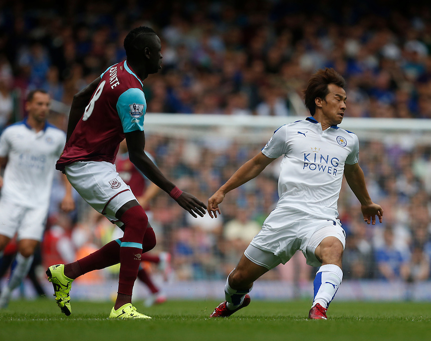 Leicester City's Shinji Okazaki in action during todays match  <br /> <br /> Photographer Kieran Galvin/CameraSport<br /> <br /> Football - Barclays Premiership - West Ham United v Leicester City - Saturday 15th August 2015 - Boleyn Ground - London<br /> <br /> &copy; CameraSport - 43 Linden Ave. Countesthorpe. Leicester. England. LE8 5PG - Tel: +44 (0) 116 277 4147 - admin@camerasport.com - www.camerasport.com