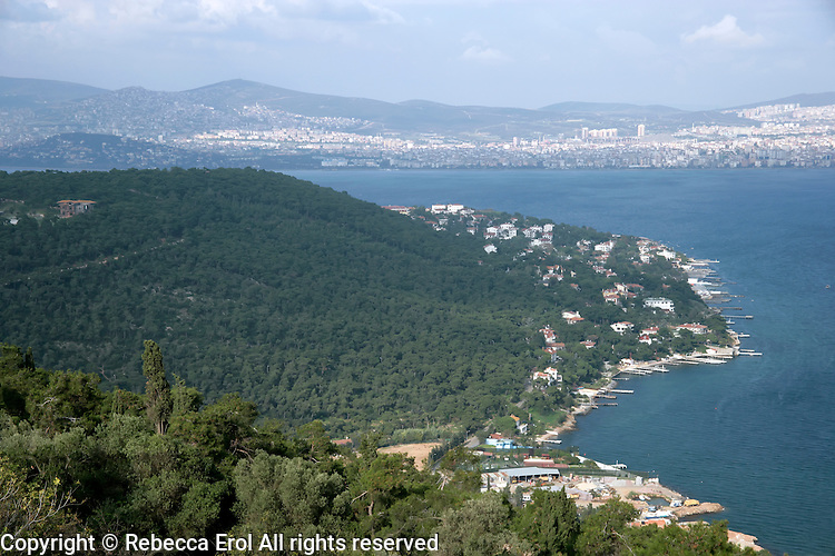 Buyukada, one of the Princes Islands, with the Istanbul mainland in the distance, Turkey