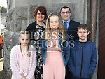 Niamh O'Hart who was confirmed in St Mary's church pictured with parents Paul and Carol, brother Conor and sister Ciara. Photo:Colin Bell/pressphotos.ie