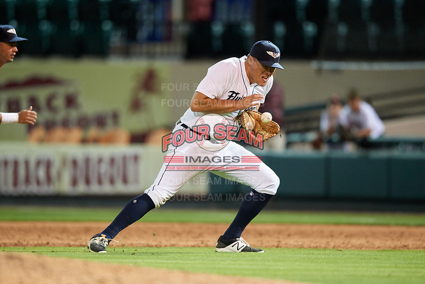 Lakeland Flying Tigers first baseman Blaise Salter (21) fields a ground ball during a game against the Tampa Tarpons on April 5, 2018 at Publix Field at Joker Marchant Stadium in Lakeland, Florida.  Tampa defeated Lakeland 4-2.  (Mike Janes/Four Seam Images)