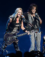 FORT LAUDERDALE FL - AUGUST 12: Nita Strauss and Alice Cooper perform at The Broward Center on August 12, 2016 in Fort Lauderdale, Florida. : Credit Larry Marano © 2016