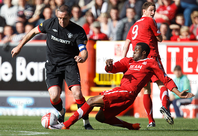 David Weir as striker as he makes a mazy run into the box