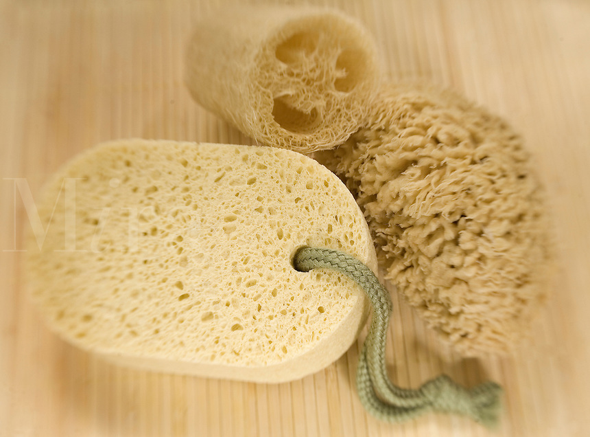 Set of 3 natural sponges,sea sponge, cellulose sponge and loufah sponge..