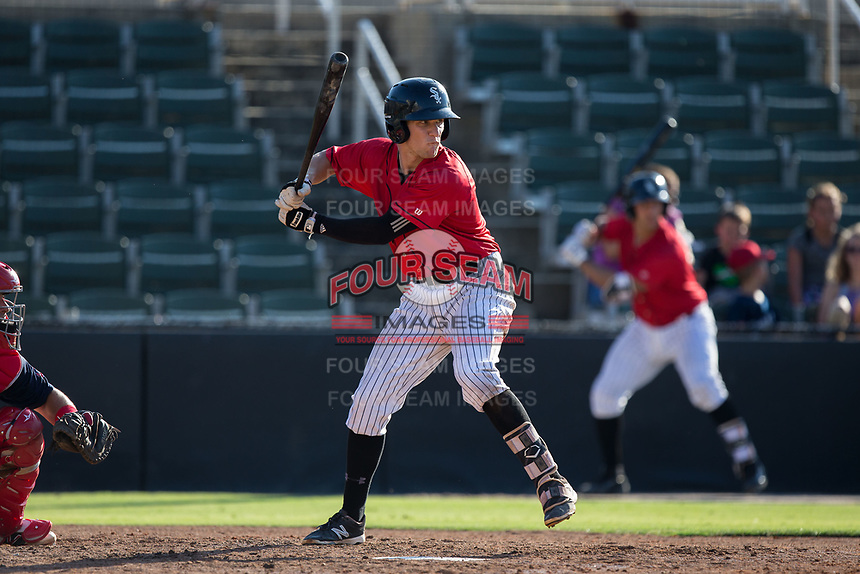 Zach Remillard (8) of the Kannapolis Intimidators at bat against the Hagerstown Suns at Kannapolis Intimidators Stadium on June 14, 2017 in Kannapolis, North Carolina.  The Intimidators defeated the Suns 4-1 in game one of a double-header.  (Brian Westerholt/Four Seam Images)