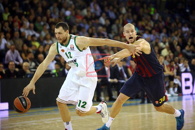 Euroleague Basketball-Regular Season Round 5.<br /> FC Barcelona vs Panathinaikos Athens: 78-69.<br /> Loukas Mavrokefalidis vs Maciej Lampe.