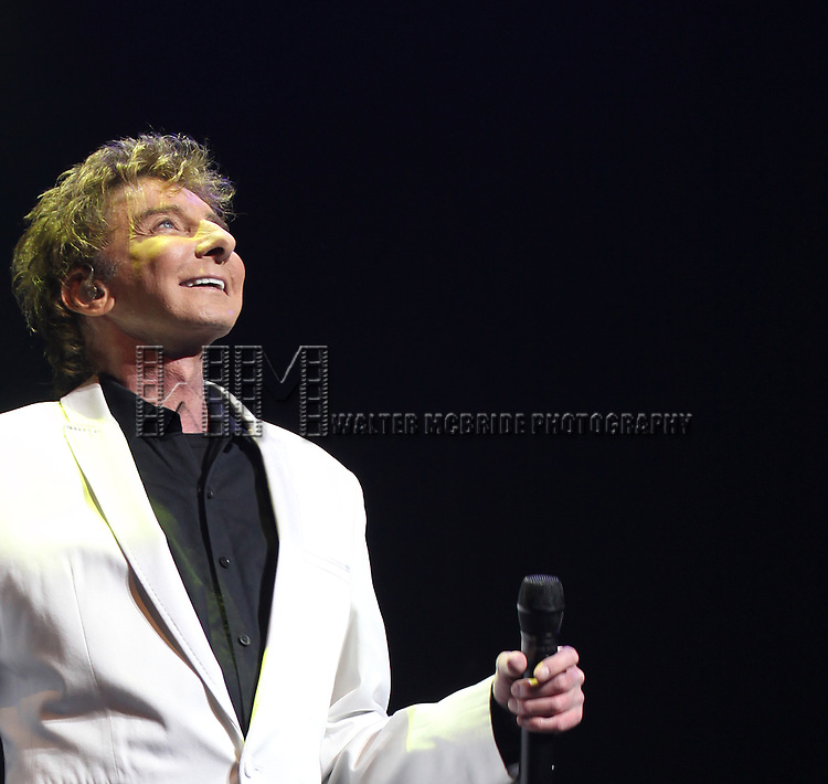 Barry Manilow performing during the Opening Night Curtain Call for 'Manilow on Broadway'  at The St. James Theatre in New York City on 1/29/2013
