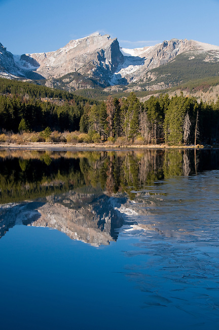 Hallett Peak, mountains, landscape, scenic, morning, reflection, ice, nature, Sprague Lake, Rocky Mountain National Park, Rocky Mountains, Colorado, USA