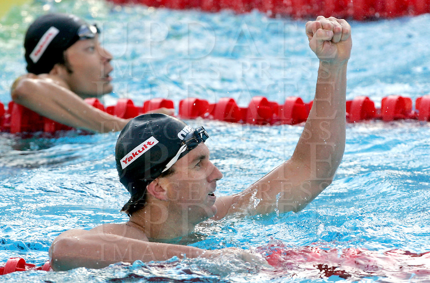 U.S. Aaron Peirsol reacts after setting the new world record clocking 1.51.92 in the Men's 200m Backstroke final at the Swimming World Championships in Rome, 31 July 2009..UPDATE IMAGES PRESS/Riccardo De Luca