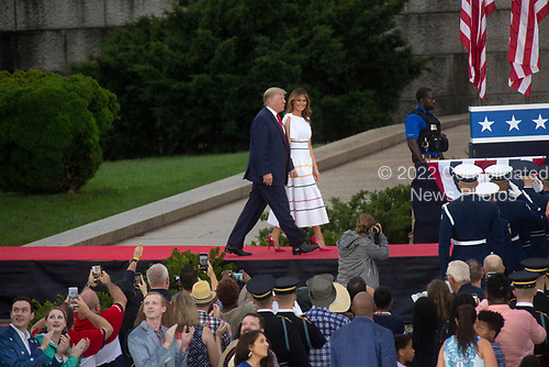 United States President Donald J. Trump and First Lady Melanie Trump arrive to the Salute to America event in Washington D.C. on July 4, 2019.  The event included a flyover of Air Force One, the Blue Angels, and military aircraft representing each branch of the military.<br /> <br /> Credit: Stefani Reynolds / CNP