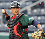 April 2, 2008: Catcher Luis Exposito (23) of the Greenville Drive, Class A affiliate of the Boston Red Sox, during Media Day at Fluor Field at the West End in Greenville, S.C. Photo by:  Tom Priddy/Four Seam Images
