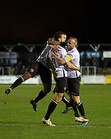 Sean Francis of Bromley celebrates after scoring the opening goal with his team mates during the Vanarama National League match between Bromley and Grimsby Town at Hayes Lane, Bromley, England on 9 February 2016. Photo by Alan  Stanford.