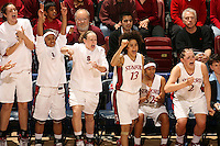 19 March 2007: Morgan Clyburn, Markisha Coleman, Clare Bodensteiner, Cissy Pierce, Melanie Murphy, and Jayne Appel during Stanford's 68-61 second round loss to Florida State in the 2007 NCAA Division I Women's Basketball Championships at Maples Pavilion in Stanford, CA.