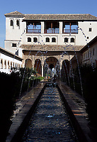 The Water Garden Courtyard, North Pavilion, The Generalife, 13th century, redecorated by the king Abu I-Walid Isma'il (1313-1324), The Alhambra, Granada, Andalusia, Spain. Picture by Manuel Cohen