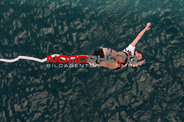 28.06.2014., Maslenica, Croatia - Adventurer during a bungee jump off the Maslenica Bridge (56 meters). Maslenica Bridge offers the highest bungee jumping in Croatia. <br />   Foto &copy; nph /  Dino Stanin