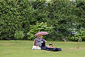 Rain during the interval at a performance of Arabella, by Richard Strauss, at Garsington Manor, Oxfordshire.