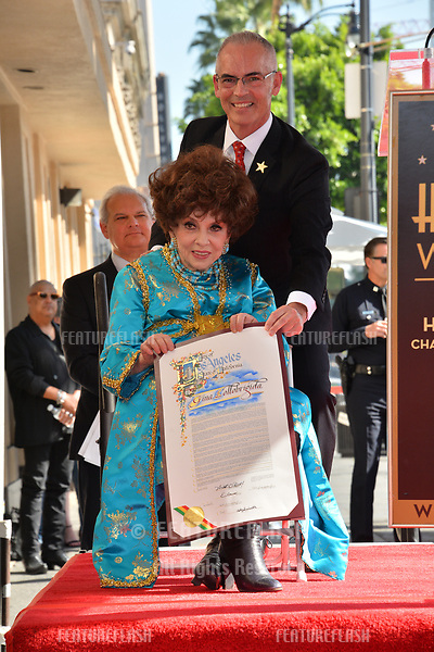Gina Lollobrigida &amp; Mitch O'Farrell at the Hollywood Walk of Fame Star Ceremony honoring actress Gina Lollobrigida, Los Angeles, USA 01 Feb. 2018<br /> Picture: Paul Smith/Featureflash/SilverHub 0208 004 5359 sales@silverhubmedia.com
