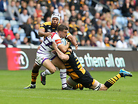 Leicester Tigers' George Ford is tackled by Wasps' James Gaskell and Nizaam Carr <br /> <br /> Photographer Stephen White/CameraSport<br /> <br /> Gallagher Premiership - Wasps v Leicester Tigers - Sunday 16th September 2018 - Ricoh Arena - Coventry<br /> <br /> World Copyright &copy; 2018 CameraSport. All rights reserved. 43 Linden Ave. Countesthorpe. Leicester. England. LE8 5PG - Tel: +44 (0) 116 277 4147 - admin@camerasport.com - www.camerasport.com