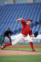 Clearwater Threshers starting pitcher Drew Anderson (37) during a game against the Dunedin Blue Jays on August 15, 2016 at Bright House Field in Clearwater, Florida.  Dunedin defeated Clearwater 4-1.  (Mike Janes/Four Seam Images)
