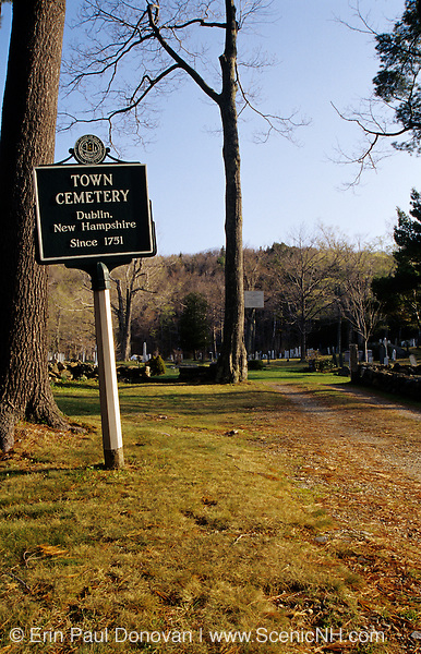 Town Cemetery in Dublin, New Hampshire USA.