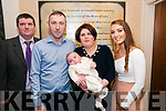 Baby David Aiden McCarthy with his parents Dvid 7 Siobhan McCarthy, Moyvane and god parents Brendan Kelliher & Emily O'Sullivan whoa wa schristened in Moyvane Church by Fr. Kevin McNamara on Saturday last and afterwards at Eabha Joan's Restaurant, Listowel.