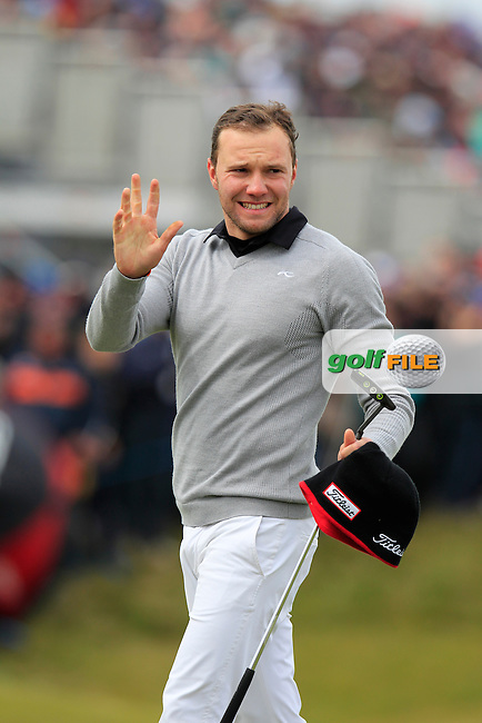 Maximilian KIEFFER (GER) sinks his putt on the 18th green and sets a new course record of 65 during Saturday's Round 3 of the 2015 Dubai Duty Free Irish Open, Royal County Down Golf Club, Newcastle Co Down, Northern Ireland 5/30/2015<br /> Picture Eoin Clarke, www.golffile.ie