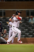 Scottsdale Scorpions Josh Stephen (17), of the Philadelphia Phillies organization, at bat during an Arizona Fall League game against the Glendale Desert Dogs on September 20, 2019 at Salt River Fields at Talking Stick in Scottsdale, Arizona. Scottsdale defeated Glendale 3-2. (Zachary Lucy/Four Seam Images)
