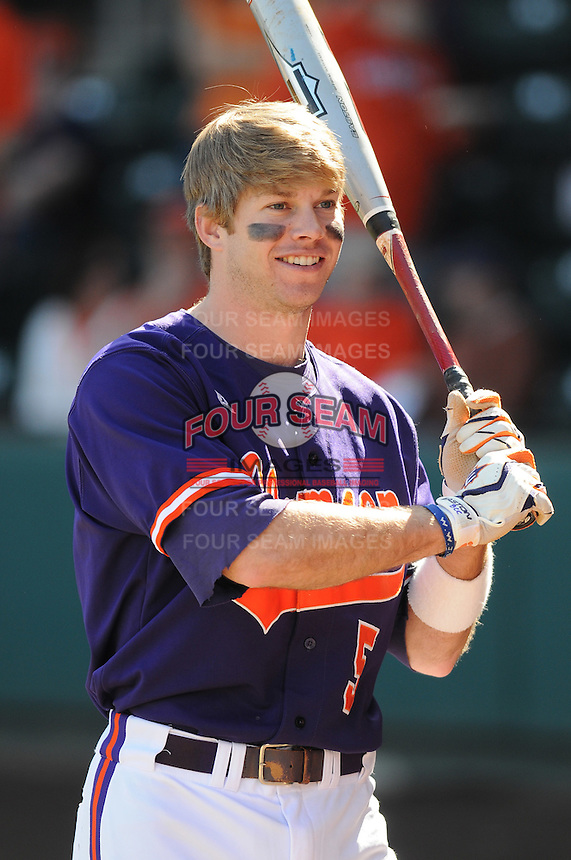 Infielder Mike Freeman (5) of the Clemson Tigers in a game against the Michigan State Spartans Saturday, Feb. 20, 2010, at Fluor Field at the West End in Greenville, S.C. Photo by: Tom Priddy/Four Seam Images