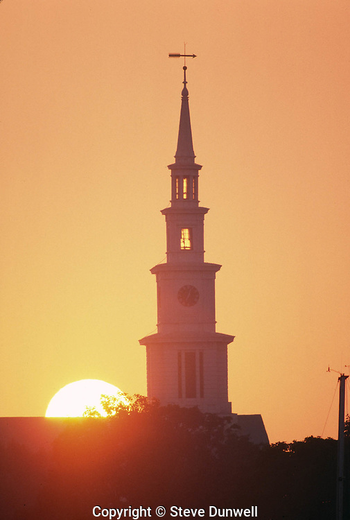 Church steeple sunrise, Bristol, RI