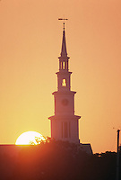 Church steeple sunrise, Bristol, RI