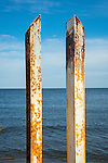 Fenwick Beach- private. Outer Bar Channel, Old Saybrook.<br /> Rusted metal pilings.