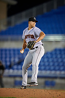 Jupiter Hammerheads relief pitcher Zech Lemond (20) delivers a pitch during a game against the Dunedin Blue Jays on August 14, 2018 at Dunedin Stadium in Dunedin, Florida.  Jupiter defeated Dunedin 5-4 in 10 innings.  (Mike Janes/Four Seam Images)