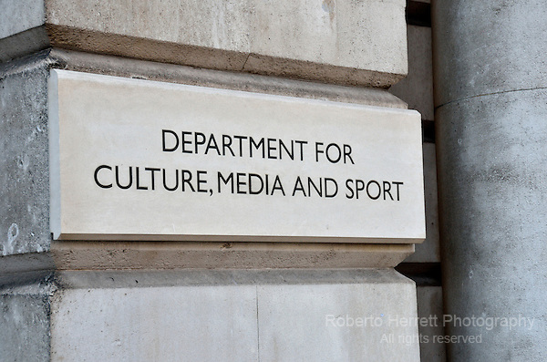 Department for Culture, Media and Sport sign, Whitehall, London, UK.