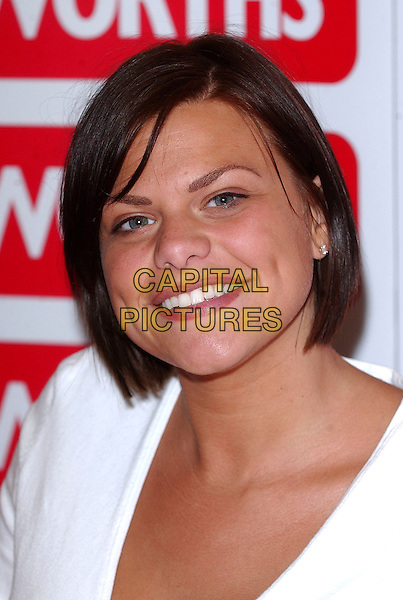 "JADE GOODY.STOCK PHOTO: Jade Goody found fame in Big Brother 3 (2002) and has since been a target of ridicule in the British tabloid press. She was diagnosed with cervical cancer in August 2008 which then spread to her liver, bowel & groin. Doctors have confirmed reports that she only has months to live. She is now making plans for the future care of her 2 sons, Freddie & Bobby Jack that she had with her previous partner, Jeff Brazier. She will marry her present partner, Jack Tweed, within two weeks..Signs copies of her autobiography ""Jade"" at Woolworths, Basildon, Essex. .May 5th, 2006 .Ref: BEL.book headshot portrait.www.capitalpictures.com.sales@capitalpictures.com.© Capital Pictures."