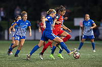 Boston, MA - Sunday September 10, 2017: Megan Oyster and Nadia Nadim during a regular season National Women's Soccer League (NWSL) match between the Boston Breakers and Portland Thorns FC at Jordan Field.