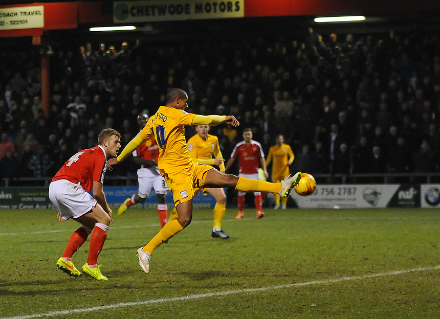 Preston North End's Jermaine Beckford on the attack in todays game with Crewe Alexandra<br /> <br /> Photographer Craig Thomas/CameraSport<br /> <br /> Football - The Football League Sky Bet League One - Crewe Alexandra v Preston North End - Sunday 28th December 2014 - Alexandra Stadium - Crewe<br /> <br /> &copy; CameraSport - 43 Linden Ave. Countesthorpe. Leicester. England. LE8 5PG - Tel: +44 (0) 116 277 4147 - admin@camerasport.com - www.camerasport.com