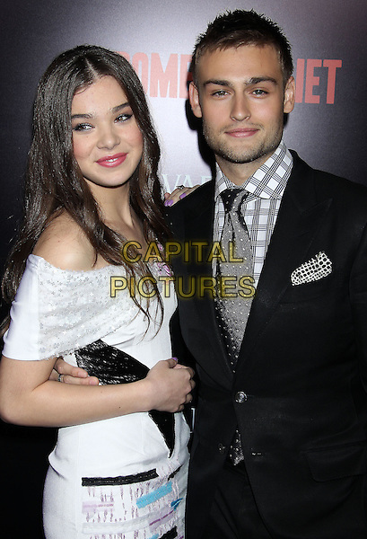 Hailee Steinfeld, Douglas Booth<br /> &quot;Romeo &amp; Juliet&quot; Los Angeles Premiere held at Arclight Cinemas, Hollywood, California, USA.<br /> September 24th, 2013<br /> half length white dress off the shoulder black blue suit shirt grey gray check tie side<br /> CAP/ADM/RE<br /> &copy;Russ Elliot/AdMedia/Capital Pictures