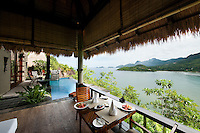 One of the private porches overlooking the archipelago at Maia, the Luxury Resort Spa near Anse Louis beach on the island of Mahe' in the Seychelles