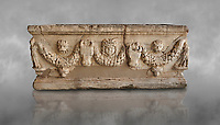 Roman relief garland sculpted sarcophagus.  Adana Archaeology Museum, Turkey