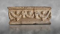 Roman relief garland sculpted sarcophagus.  Adana Archaeology Museum, Turkey