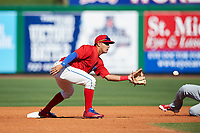 Clearwater Threshers shortstop Emmanuel Marrero (33) waits to receive a throw from the catcher on a stolen base attempt during the first game of a doubleheader against the Palm Beach Cardinals on April 13, 2017 at Spectrum Field in Clearwater, Florida.  Clearwater defeated Palm Beach 1-0.  (Mike Janes/Four Seam Images)