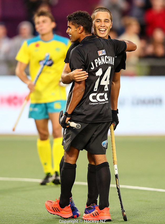 Jared Panchia goal. Pro League Hockey, Vantage Blacksticks Men v Australia, ANZAC test. North Harbour Hockey Stadium, Auckland, New Zealand. Thursday 25 April 2019. Photo: Simon Watts/Hockey NZ