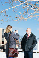 Leigh Munsil, political editor for The Blaze, interviews former Virginia governor and Republican presidential candidate Jim Gilmore outside the Radisson Hotel in downtown Manchester, New Hampshire, on the day of primary voting, Feb. 9, 2016. Most television and radio organizations set up at the Radisson to broadcast their campaign coverage during the final days of the primary. Gilmore finished in last place among major Republican candidates still in the race with a total of 150 votes.