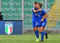 Manuela Giugliano (L) of Italy celebrates with team mates after scoring the goal of 2-0<br /> Palermo 08-10-2019 Stadio Renzo Barbera <br /> UEFA Women's European Championship 2021 qualifier group B match between Italia and Bosnia-Herzegovina.<br /> Photo Carmelo Imbesi / Insidefoto