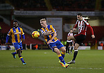 Danny Lafferty of Sheffield Utd has a shot during the English League One match at the Bramall Lane Stadium, Sheffield. Picture date: November 19th, 2016. Pic Simon Bellis/Sportimage