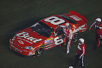 Feb 10, 2007; Daytona, FL, USA; Nascar Nextel Cup driver Dale Earnhardt Jr (8) apologizes to Elliott Sadler (19) after Earnhardt caused a last lap multi car crash during the Budweiser Shootout at Daytona International Speedway. Mandatory Credit: Mark J. Rebilas