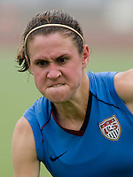 Heather O'Reilly. The USWNT practiced at Beijing Normal University in Beijing, China.  The team will now move to Qinhuangdao to prepare for their first two group games of the 2008 Olympics.